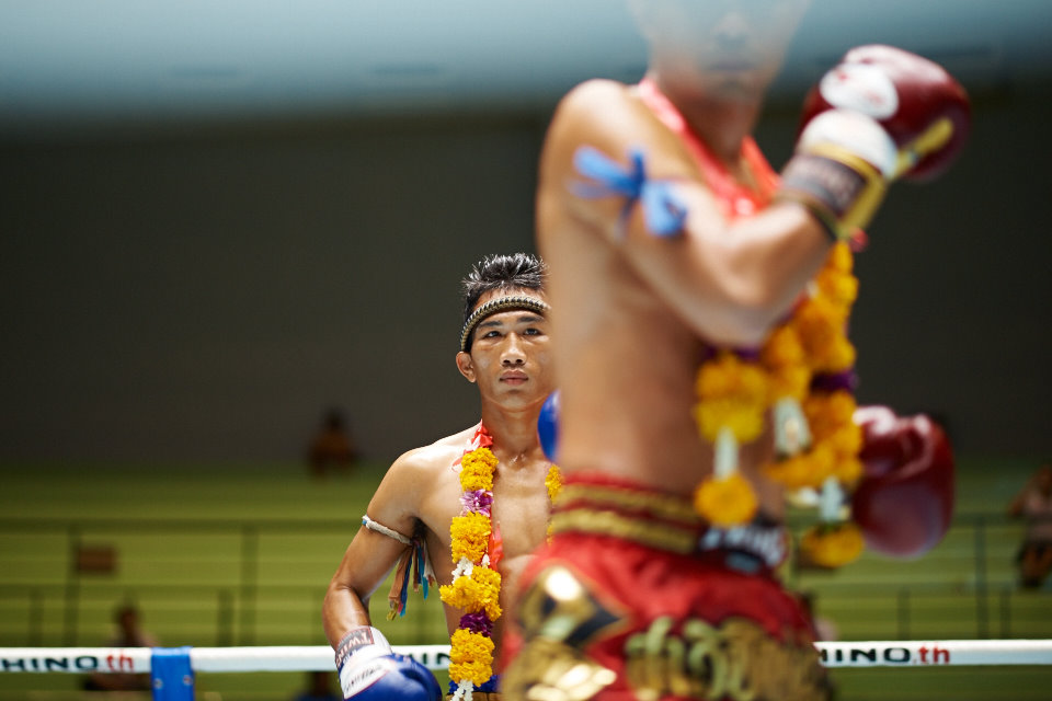 Fighters performing the Wai Kru ceremony just before the fight