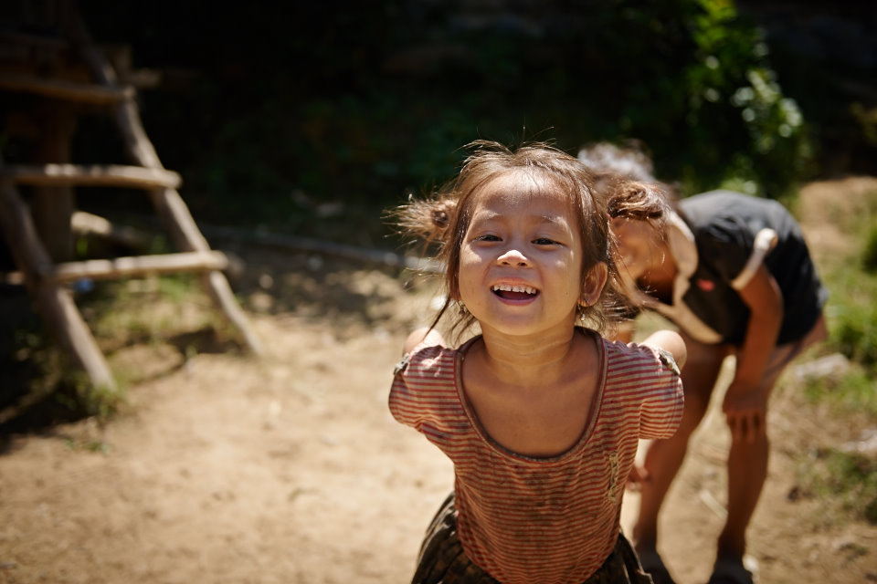 Happy children at a Hmong village