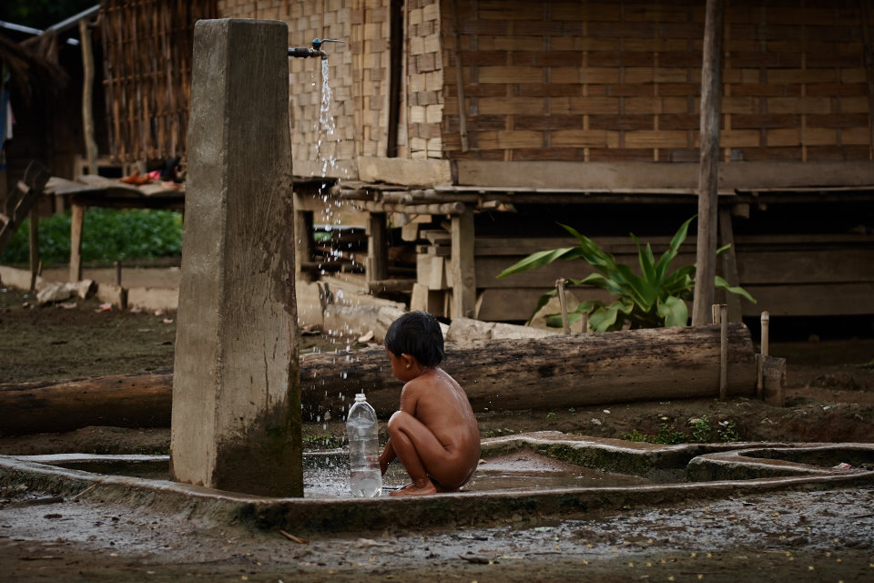 Private showers are not available in the village. Most villagers, men and women alike, have a shower at the village fountain located in the middle of the village.
