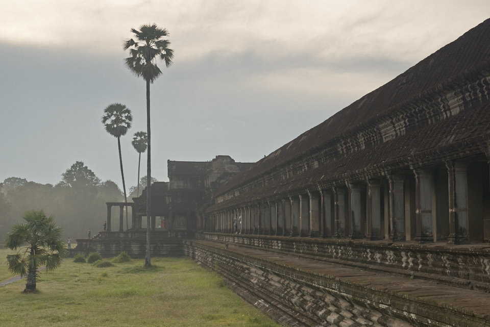 Angkor Wat, build at around 1300, was first a Hindu, then subsequently a Buddhist, temple complex in Cambodia and the largest religious monument in the world.